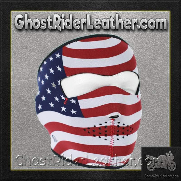 USA Flag Stars and Stripes Neoprene Full Face Mask / SKU GRL-FMB05-HI-face mask-Ghost Rider Leather
