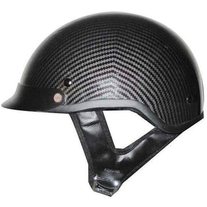 DOT Carbon Fiber LOOK Motorcycle Shorty Helmet / SKU GRL-1CL-HI - Ghost Rider Leather
