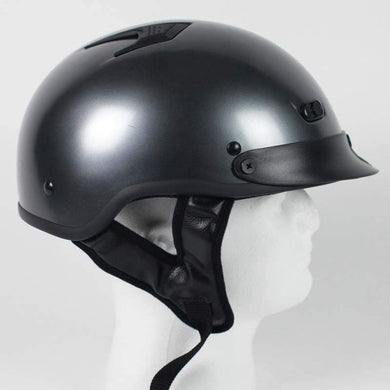 DOT Black Chrome Motorcycle Shorty Helmet / SKU GRL-1GM-HI - Ghost Rider Leather