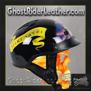 DOT Christian Cross Motorcycle Shorty Helmet - SKU GRL-1VPC-HI - Ghost Rider Leather