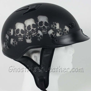 DOT Vented Skull Pile Flat Black Shorty Motorcycle Helmet / SKU GRL-1VSP-HI - Ghost Rider Leather