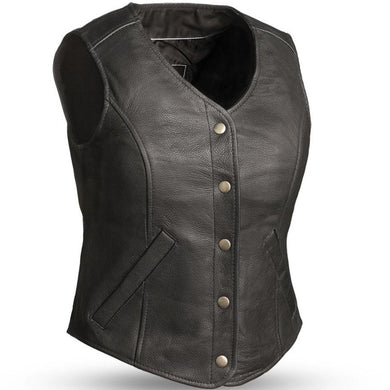The Derringer - Women's Concealed Carry Leather Motorcycle Vest - SKU GRL-FIL565RCSL-FM - Ghost Rider Leather