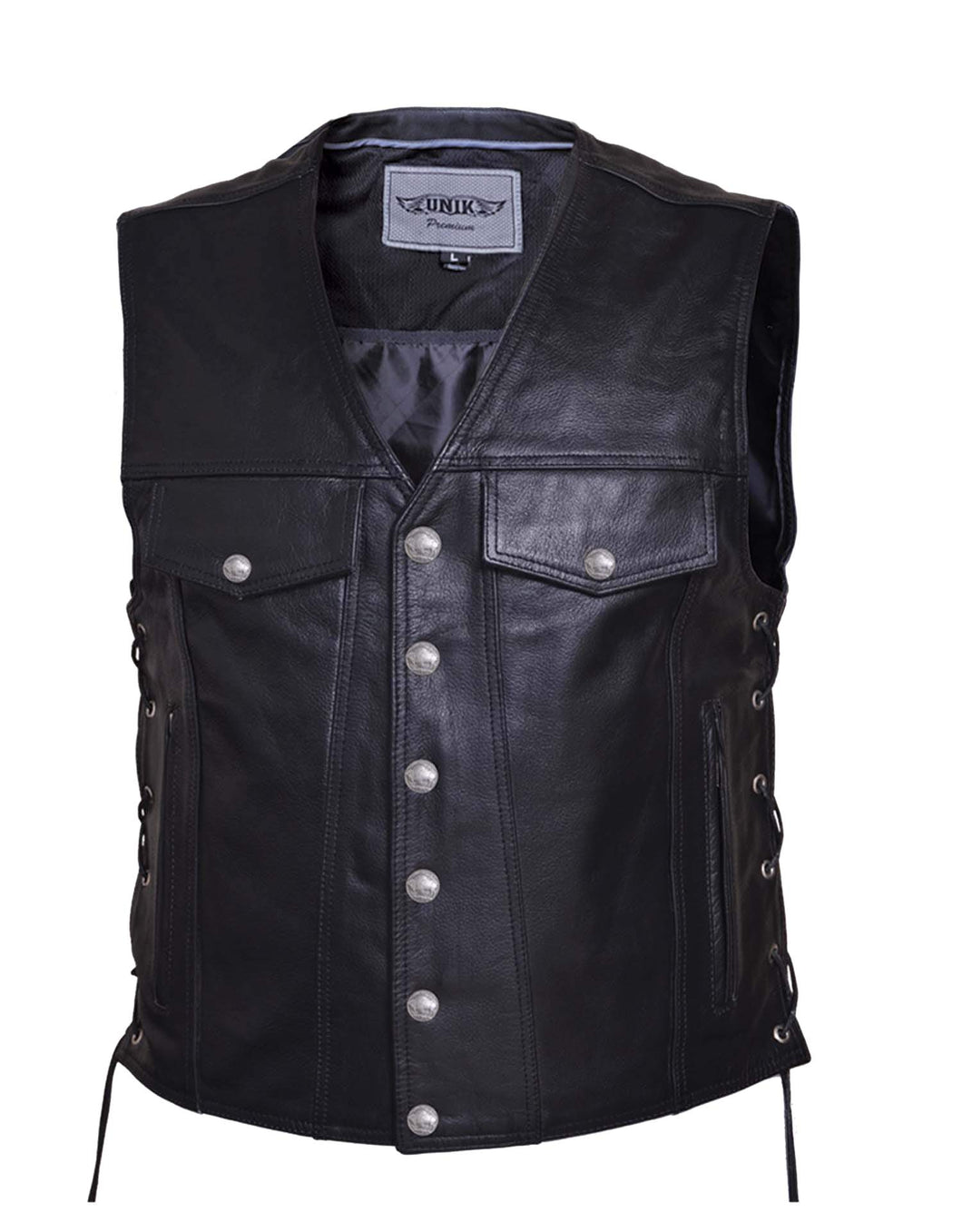 UNIK Men's Premium Leather Motorcycle Vest - Ghost Rider Leather