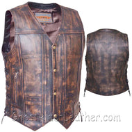 Mens Concealed Carry Nevada Brown 10 Pocket Naked Leather Vest - SKU GRL-2632.ABR-UN-mens leather vest-Ghost Rider Leather