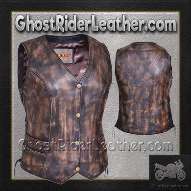 Ladies Concealed Carry Nevada Brown Naked Leather Vest - SKU GRL-2659.ABR-UN-Ladies Vest-Ghost Rider Leather