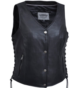 UNIK Ladies Lightweight Leather Vest - Up To Size 8X - SKU GRL-2681-NG-UN - Ghost Rider Leather