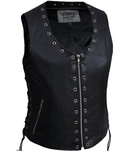 UNIK Ladies Zippered Lightweight Leather Vest With Eyelets - SKU GRL-2682-NG-UN - Ghost Rider Leather