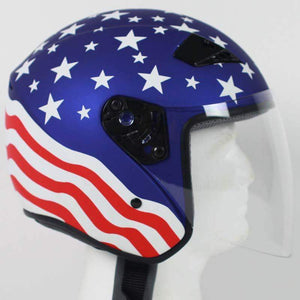 America DOT Motorcycle Helmet with Flip Shield / SKU GRL-RK5A-HI - Ghost Rider Leather