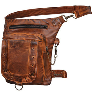 UNIK Ladies Brown Leather Thigh Bags - SKU GRL-5734-ORG-UN - Ghost Rider Leather