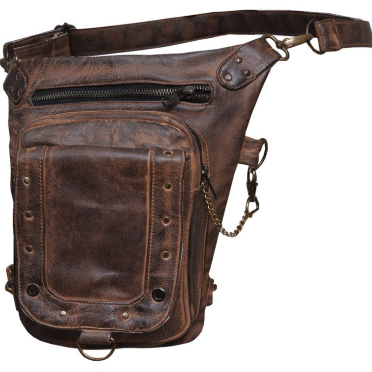UNIK Ladies Brown Leather Thigh Bags - SKU GRL-5735-TAN-UN - Ghost Rider Leather