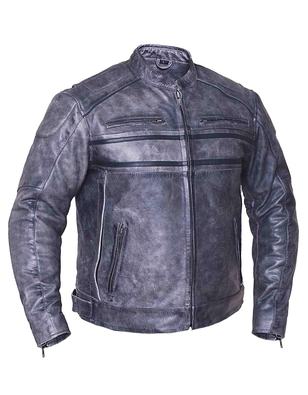 UNIK Men's Tombstone Gray Premium Leather Motorcycle Jacket - Ghost Rider Leather