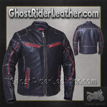 Mens Black With Red Trim Durango Leather Jacket with Concealed Carry Pockets / SKU GRL-6633.01-UN - Ghost Rider Leather