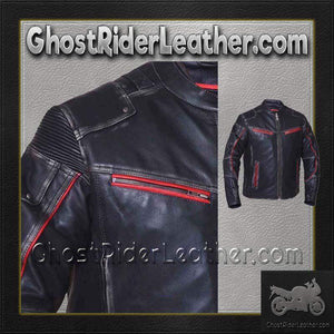 Mens Black With Red Trim Durango Leather Jacket with Concealed Carry Pockets / SKU GRL-6633.01-UN-leather motorcycle jacket-Ghost Rider Leather