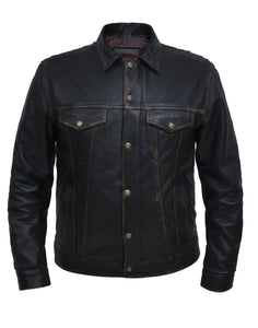UNIK Men's Colorado Brown Shirt Jacket - Ghost Rider Leather