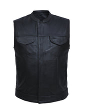 UNIK Men's Biker SOA Style Club Leather Vest - SKU GRL-7402-ZP-BLK-UN - Ghost Rider Leather