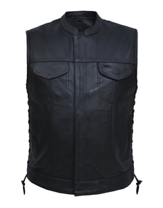 UNIK Men's Ultra SOA Style Vest - 6655-NK-SL - Ghost Rider Leather