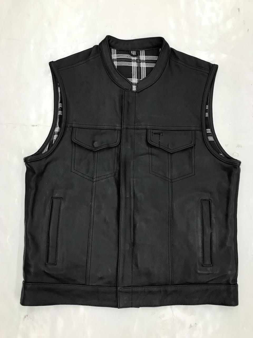 UNIK Men's Vest with Black / White Flannel Liner - Ghost Rider Leather