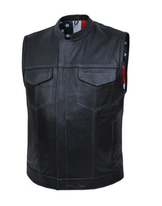 UNIK Men's Vest with USA Flag Liner - Ghost Rider Leather