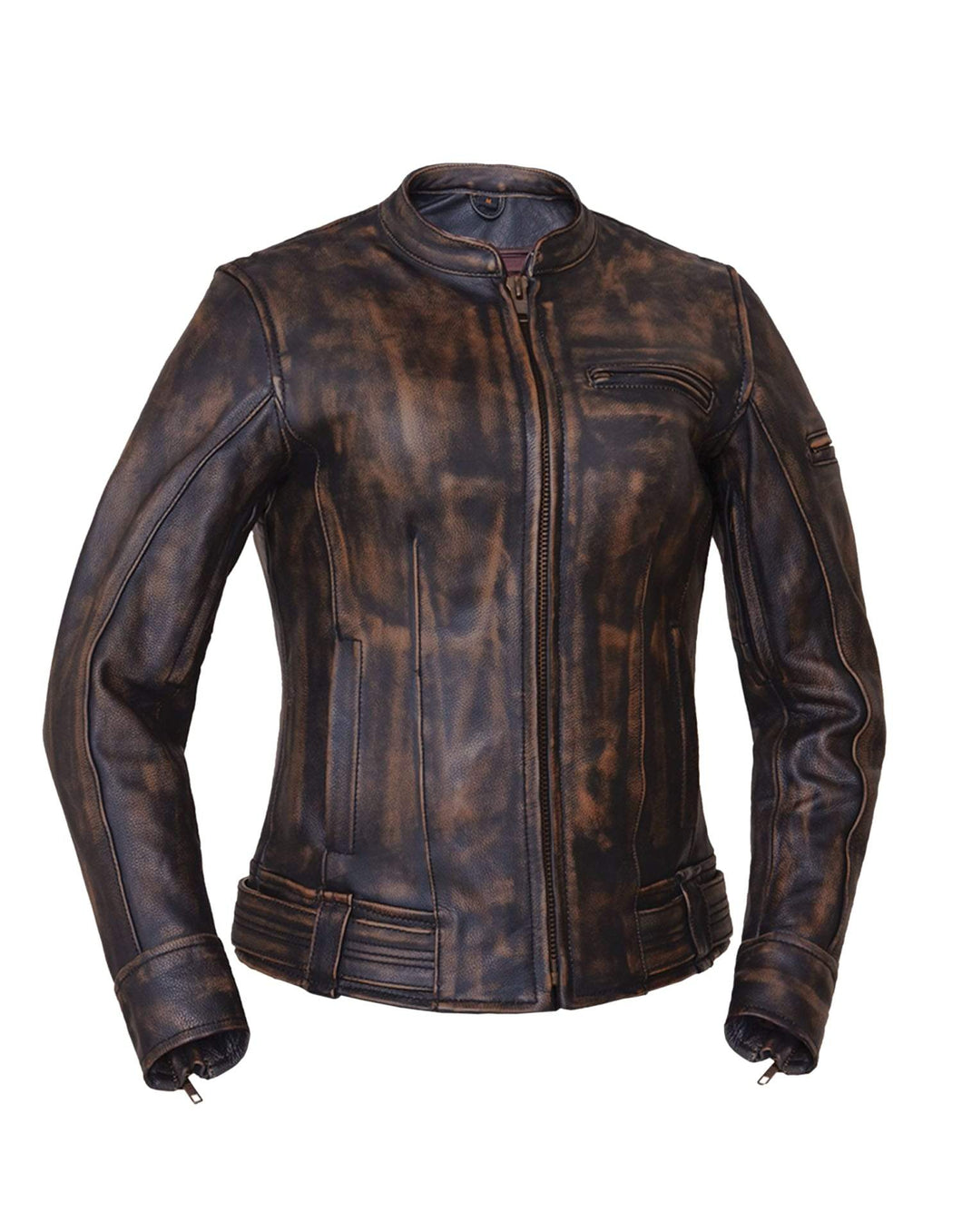 UNIK Ladies Nevada Brown Ultra Leather Motorcycle Jacket - Ghost Rider Leather