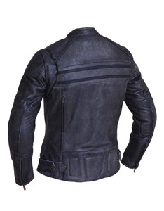 UNIK Ladies Tombstone Gray Premium Leather Motorcycle Jacket