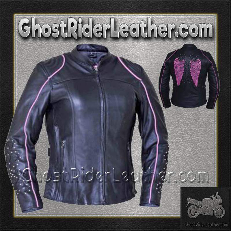Ladies Black With Pink Trim Leather Jacket with Tribal Angel Wings and Studs / SKU GRL-6824.24-UN - Ghost Rider Leather
