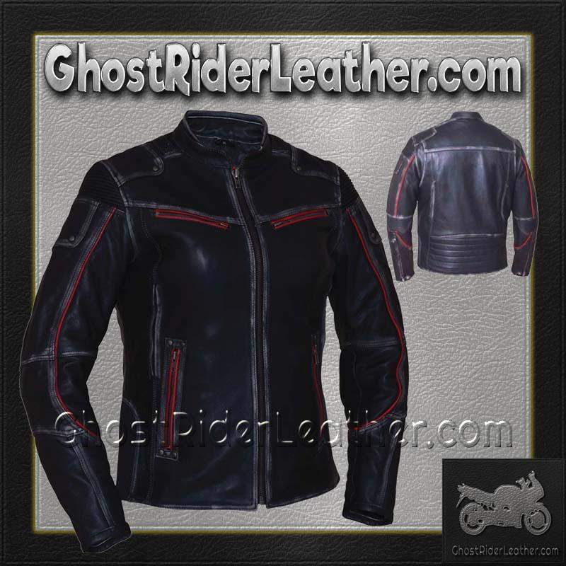 Ladies Black With Red Trim Durango Leather Jacket with Concealed Carry Pockets / SKU GRL-6833.01-UN-leather motorcycle jacket-Ghost Rider Leather