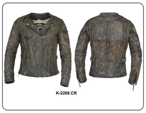 UNIK Ladies Premium Leather Motorcycle Jacket in Crispy Brown