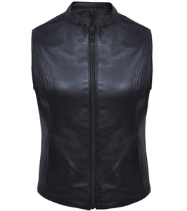 UNIK Ladies Premium Leather Motorcycle Club Vest - SKU GRL-6875-00-UN - Ghost Rider Leather