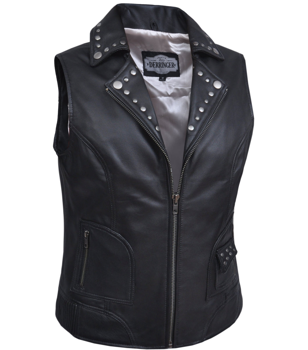 UNIK Ladies Premium Leather Motorcycle Vest - SKU GRL-6876.00-UN - Ghost Rider Leather