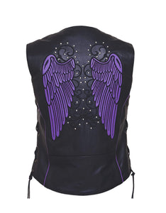 UNIK Ladies Motorcycle Premium Leather Vest - 6879.17-UN - Ghost Rider Leather