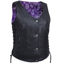 UNIK LADIES VEST WITH PURPLE PAISELY LINER