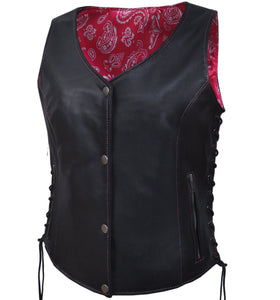 UNIK LADIES VEST WITH HOT PINK PAISLEY LINER - SKU GRL-6890.24-UN - Ghost Rider Leather