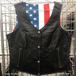 Unik Ladies Leather Vest with USA Flag Liner  - SKU GRL-6890.USA-UN - Ghost Rider Leather