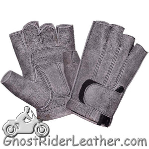 Premium Fingerless Gunsmoke Gray Leather Motorcycle Riding Gloves - SKU GRL-8133.GN-UN-leather riding gloves-Ghost Rider Leather