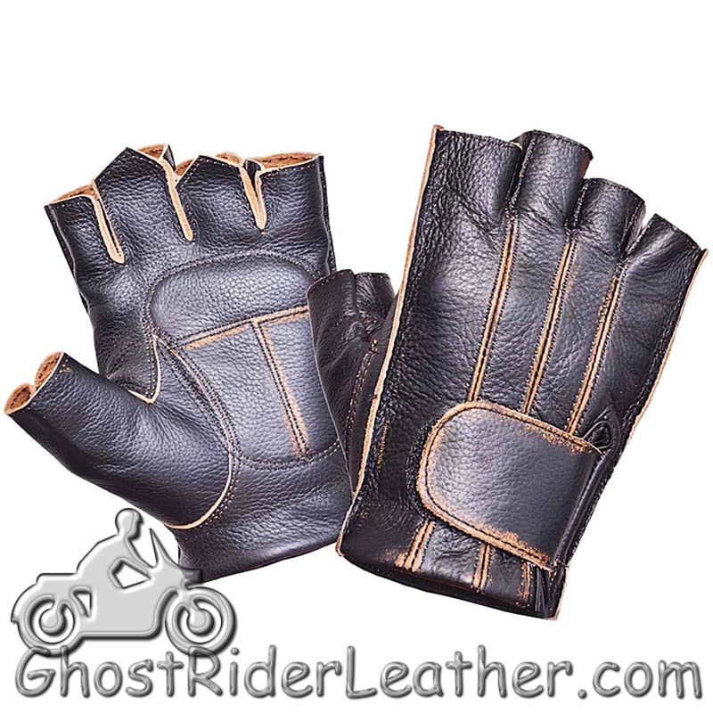 Premium Fingerless Antique Brown Leather Motorcycle Riding Gloves - SKU GRL-8134.ABR-UN-leather riding gloves-Ghost Rider Leather