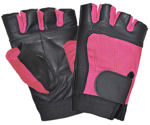 UNIK Ladies Black and Pink Fingerless Gloves - SKU GRL-8141-24-UN - Ghost Rider Leather