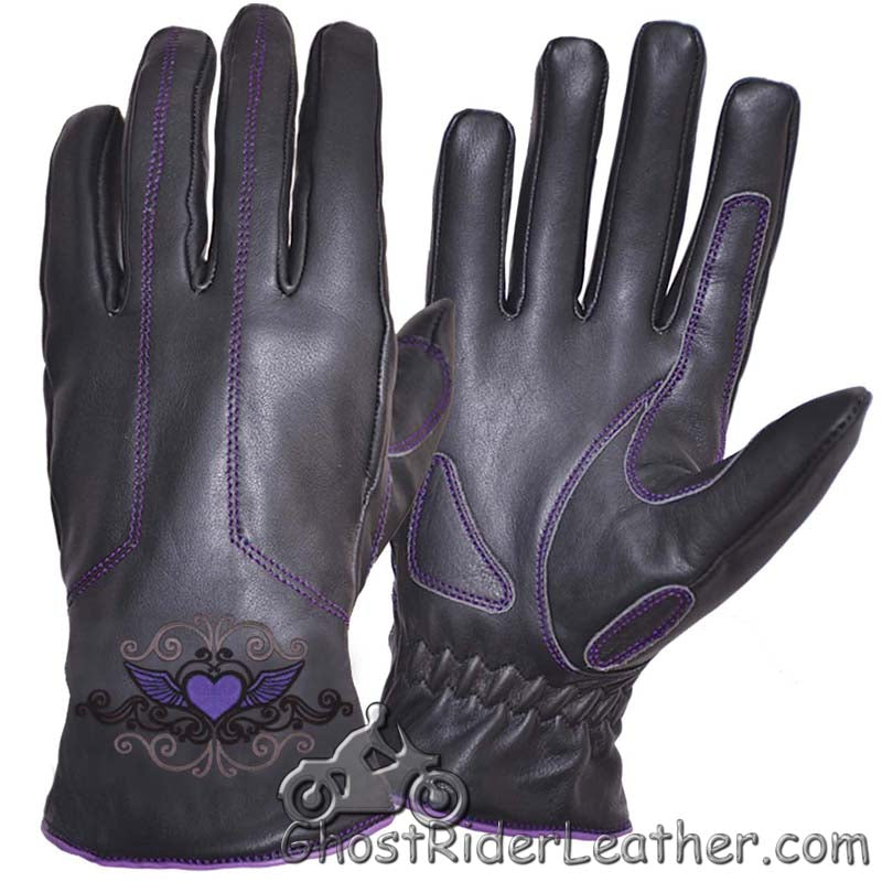 Ladies Full Finger Leather Motorcycle Riding Gloves With Purple Stitching - SKU GRL-8144.17-UN-leather riding gloves-Ghost Rider Leather