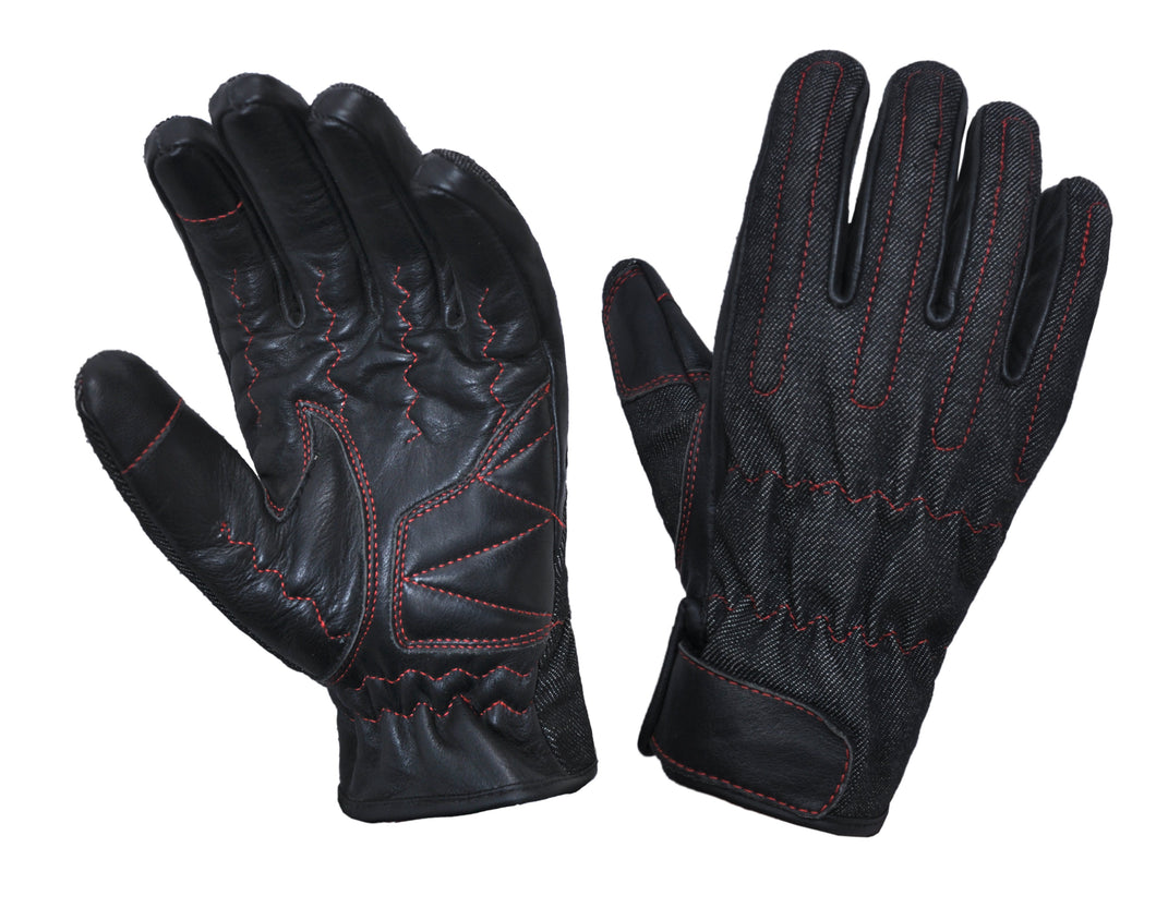 UNIK Full Finger Black Denim / Leather Kevlar Gloves with Red Piping