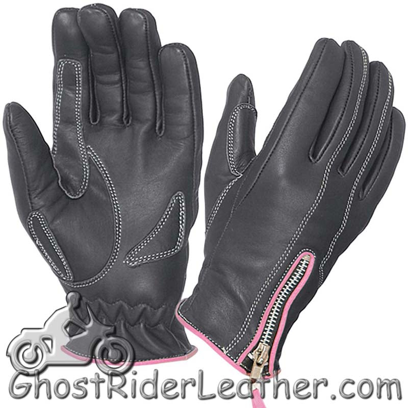 Ladies Full Finger Leather Motorcycle Riding Gloves With Hot Pink Piping - SKU GRL-8261.24-UN - Ghost Rider Leather