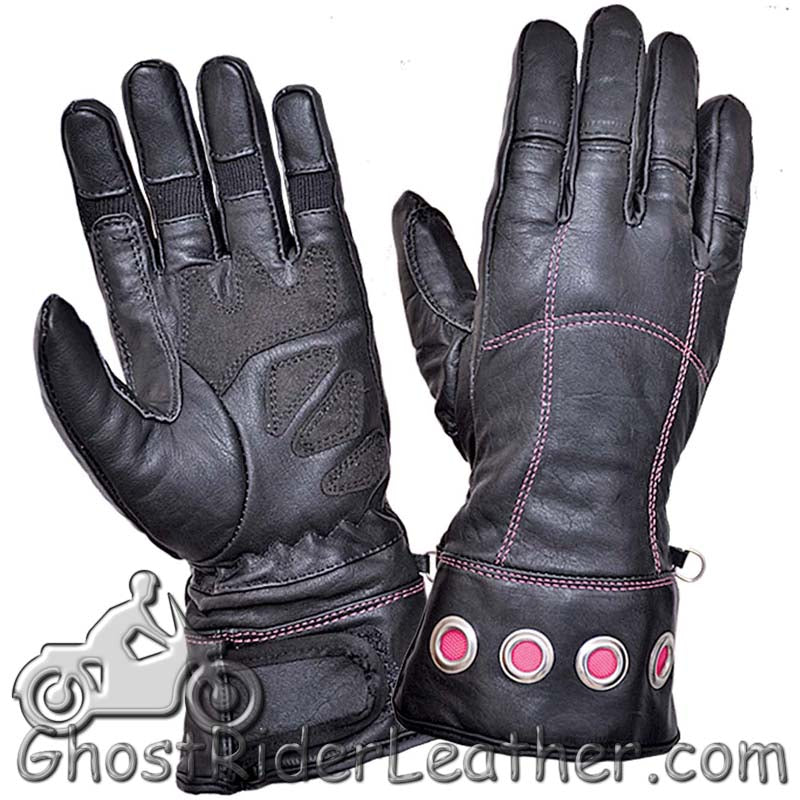 Ladies Full Finger Leather Motorcycle Riding Gloves With Hot Pink Stitching - SKU GRL-8332.24-UN-leather riding gloves-Ghost Rider Leather