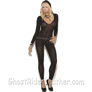 Ladies Black Bodystocking - SKU GRL-8802-EML - Ghost Rider Leather