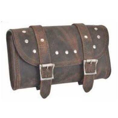 UNIK Brown Leather Tool Bag With Studs - SKU GRL-9650-00-UN - Ghost Rider Leather
