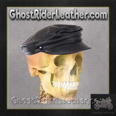 Biker Leather Cap - One Size Fits Most / SKU GRL-AC003-DL-leather cap-Ghost Rider Leather