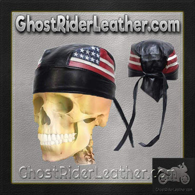 Leather Skull Cap with American Flag / SKU GRL-AC007-04-DL-leather skull cap-Ghost Rider Leather