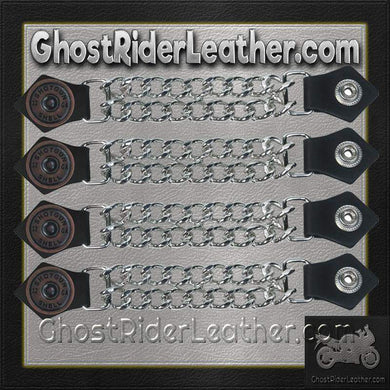 Set of Four Shotgun Shell Vest Extenders with Chrome Chain / SKU GRL-AC1045-DL - Ghost Rider Leather
