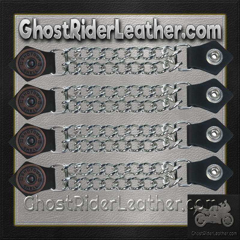 Set of Four Shotgun Shell Vest Extenders with Chrome Chain / SKU GRL-AC1045-DL-vest extender-Ghost Rider Leather