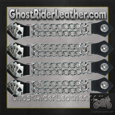Set of Four Deadmans Hand Vest Extenders with Chrome Chain / SKU GRL-AC1046-DL - Ghost Rider Leather
