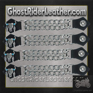 Set of Four Steer Skull Vest Extenders with Chrome Chain / SKU GRL-AC1047-DL - Ghost Rider Leather