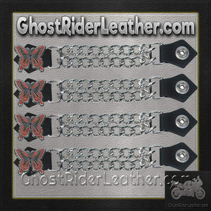 Set of Four Butterfly Vest Extenders with Chrome Chain / SKU GRL-AC1048-DL-vest extender-Ghost Rider Leather