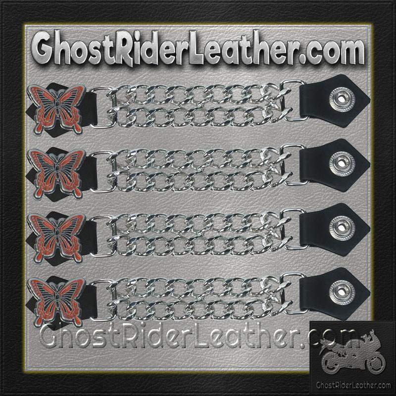 Set of Four Butterfly Vest Extenders with Chrome Chain / SKU GRL-AC1048-DL - Ghost Rider Leather
